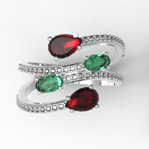 Камень: Гранат + зеленый кварц